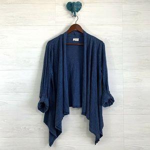 Lou & Grey Blue Slub Knit Roll Tab Slv Open Cardi